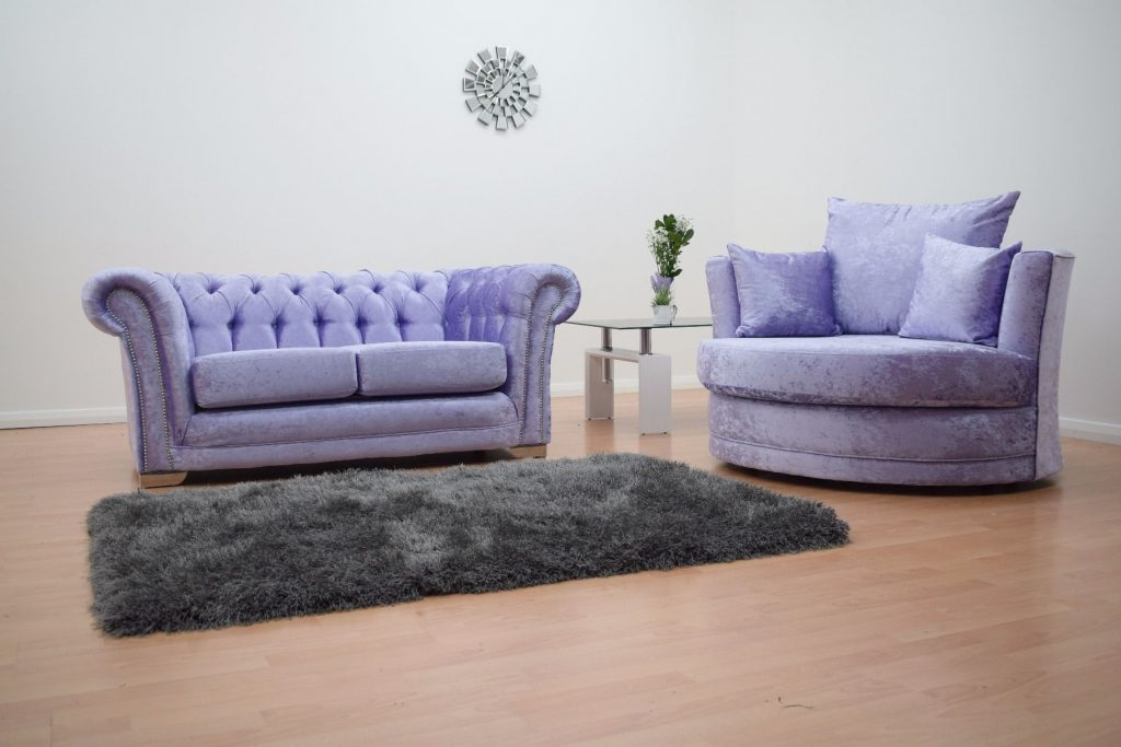 Furnish365 Chesterfield 2 Seater Sofa And Cuddle Chair Lavender