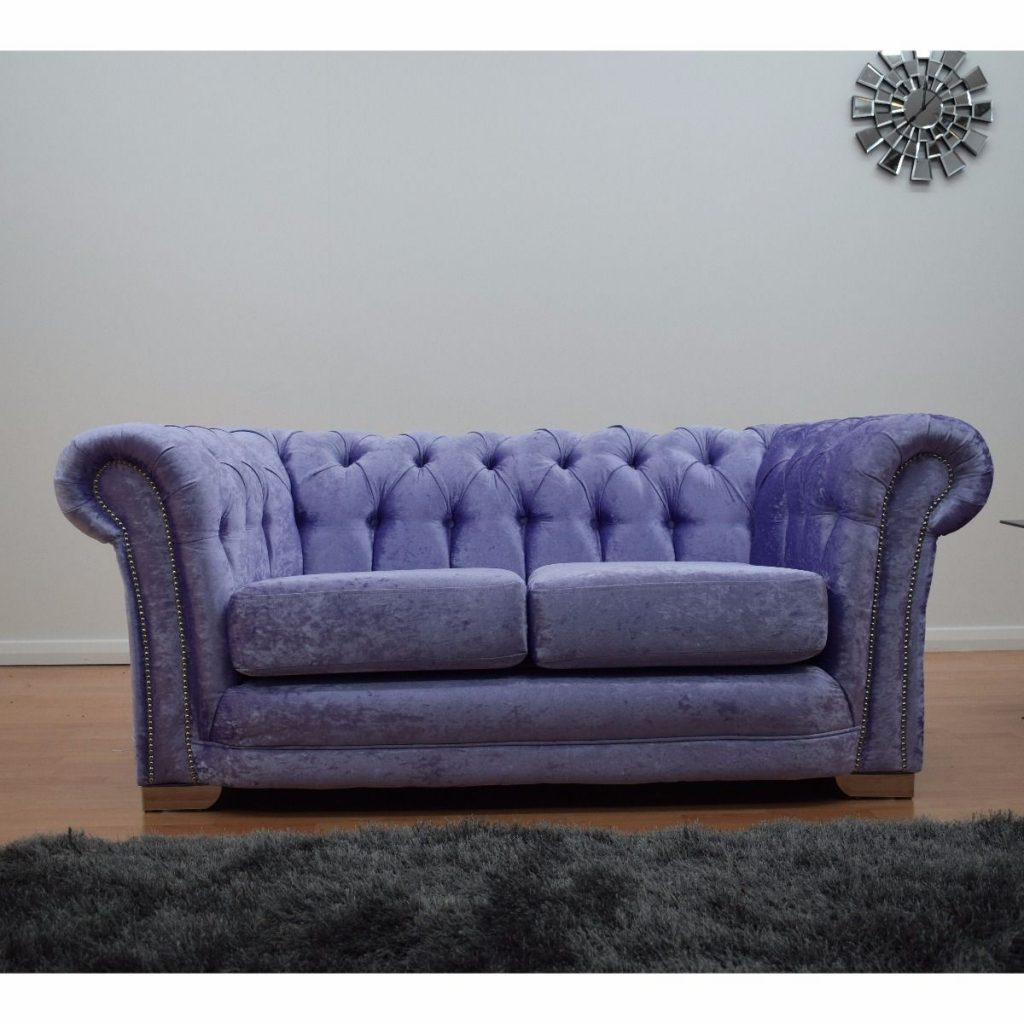 Furnish365 Chesterfield 2 Seater Velvet Sofa Lavender