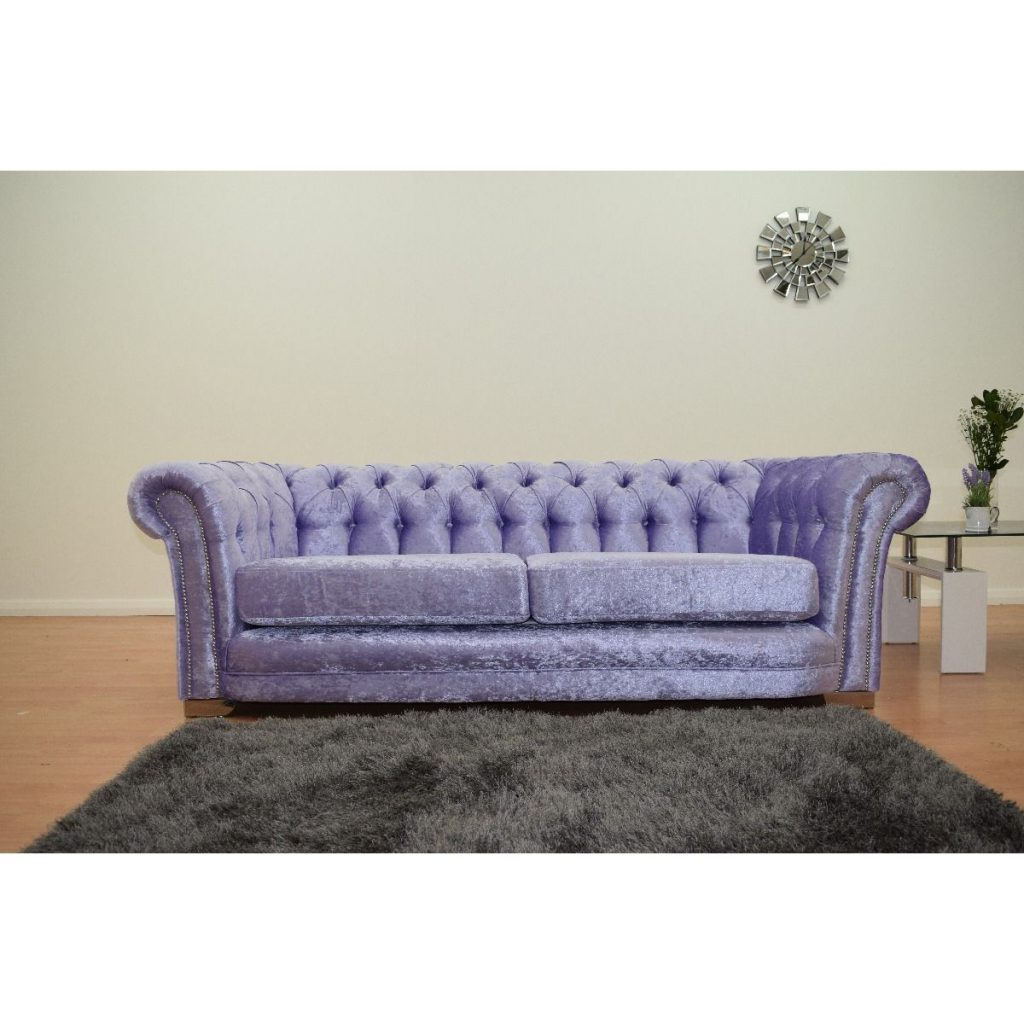 Furnish365 Chesterfield 3 Seater Velvet Sofa Lavender