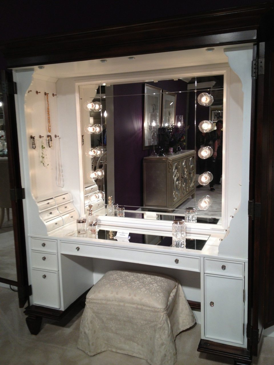 Furniture Large Modern Makeup Vanity Dressing Table With Glass Top