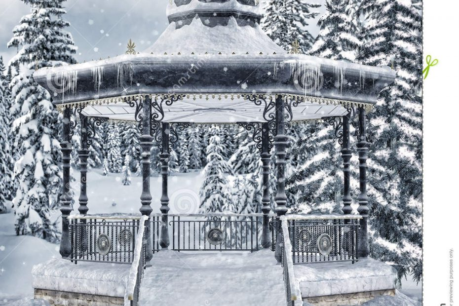 Gazebo Im Winterwald Stock Abbildung Illustration Von Winter 34438388