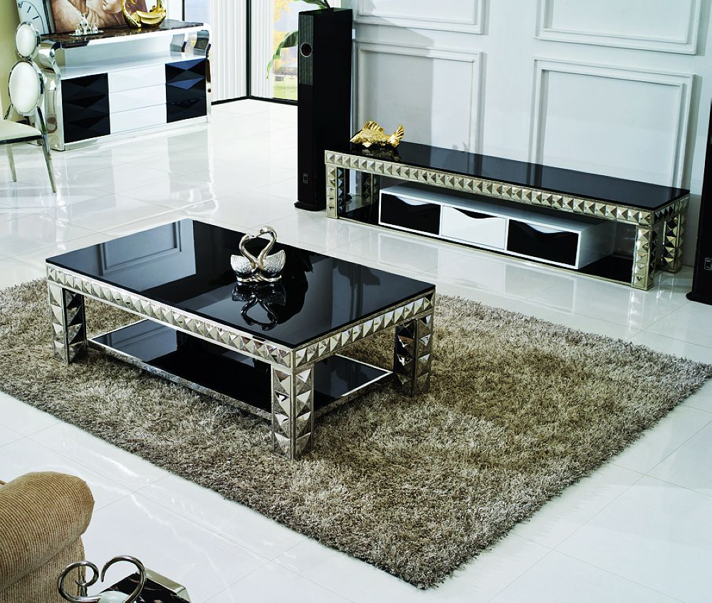 Glamorous Glass Tables For Living Room Comes With Black Glass Coffee