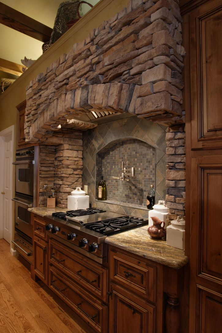 Great Decorative Stone Range Hoods Design With Wooden Cabinet