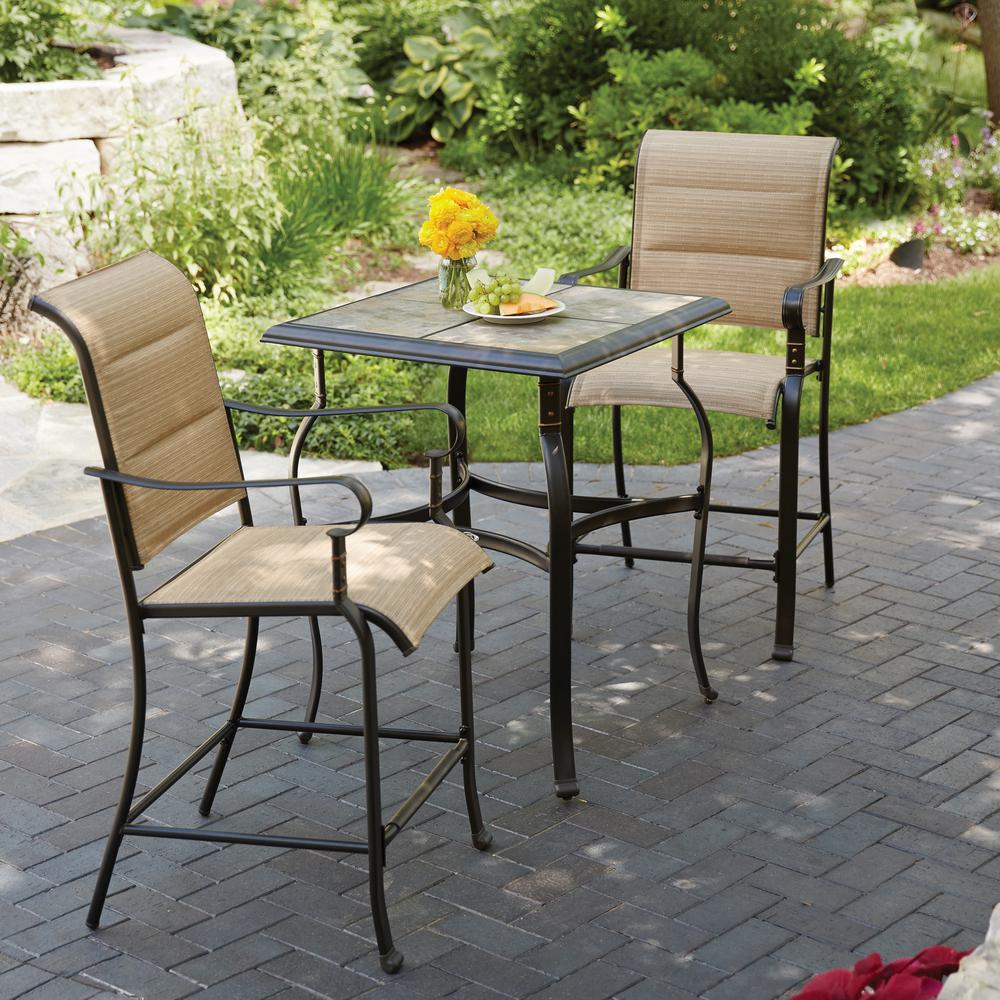 Hampton Bay Belleville 3 Piece Padded Sling Outdoor Bistro Set