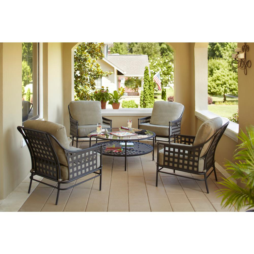 Hampton Bay Lynnfield 5 Piece Patio Conversation Set With Gray Beige