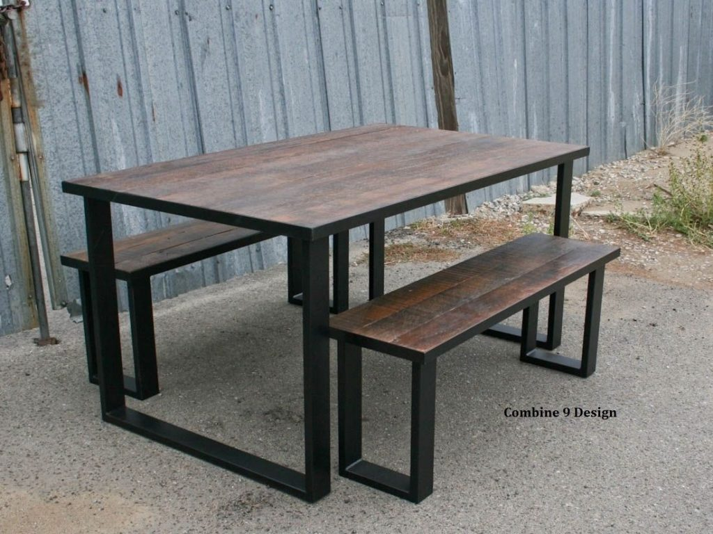 Hand Crafted Reclaimed Wood Dining Set Industrial Steel Rustic