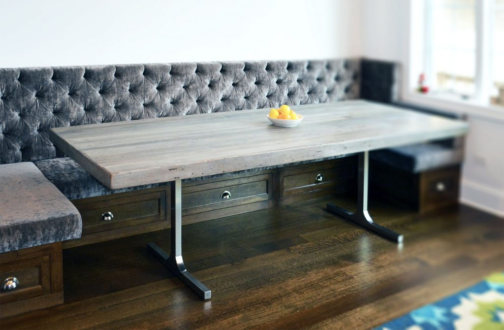 Hand Crafted Reclaimed Wood Rustic Grey Dining Table Abodeacious