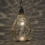 Handcrafted Moroccan Silver Plated Ceiling Light Fixture Hanging