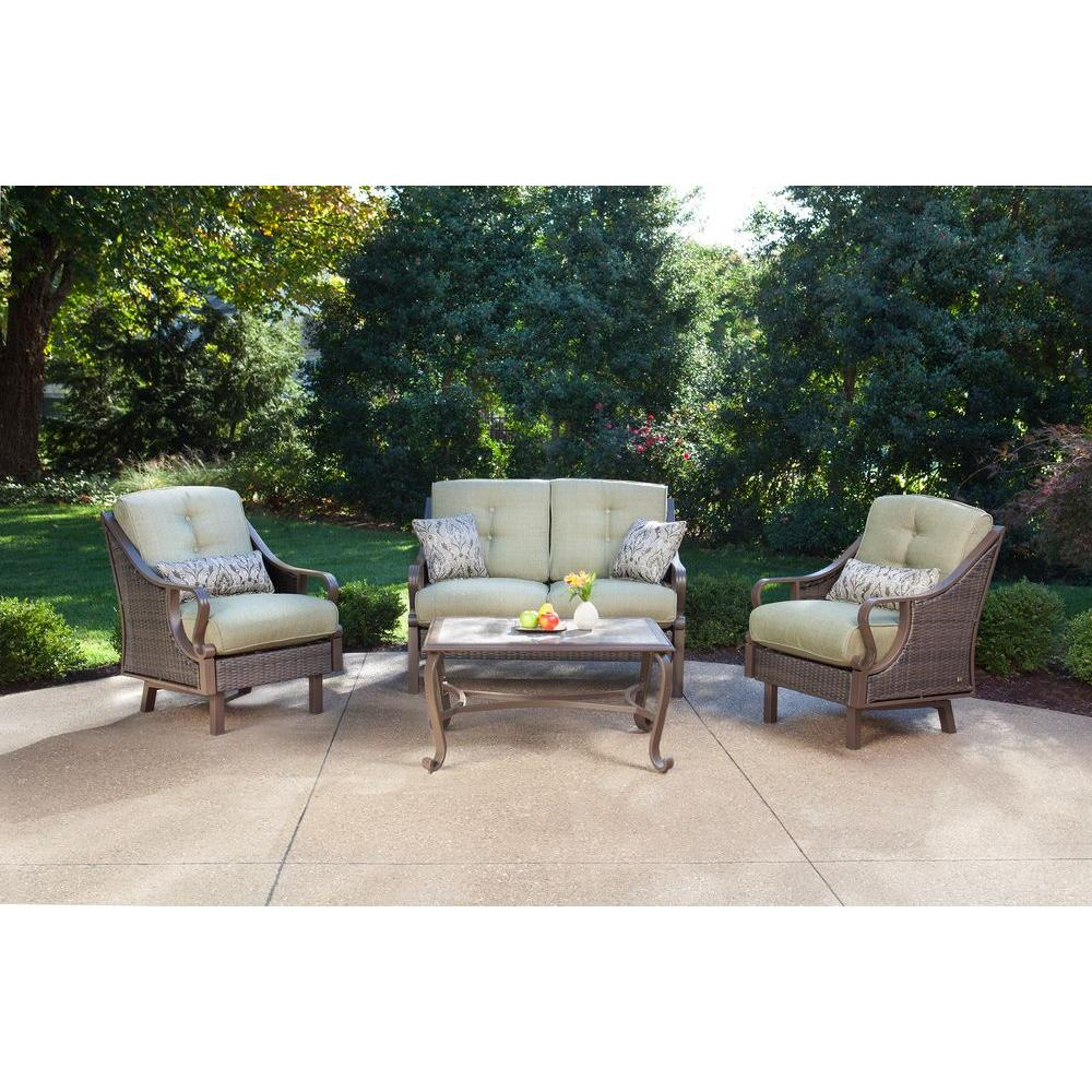 Hanover Ventura 4 Piece Patio Conversation Set With Vintage Meadow