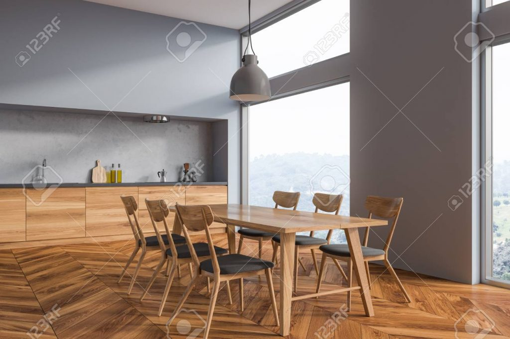 Interior Of Dining Room With Gray Walls Wooden Floor Long Table