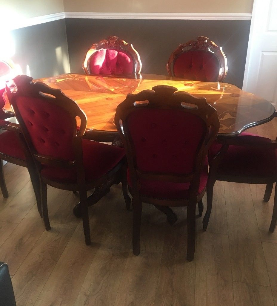 Italian Style Mahogany Dining Room Table And 6 Chairs Used In
