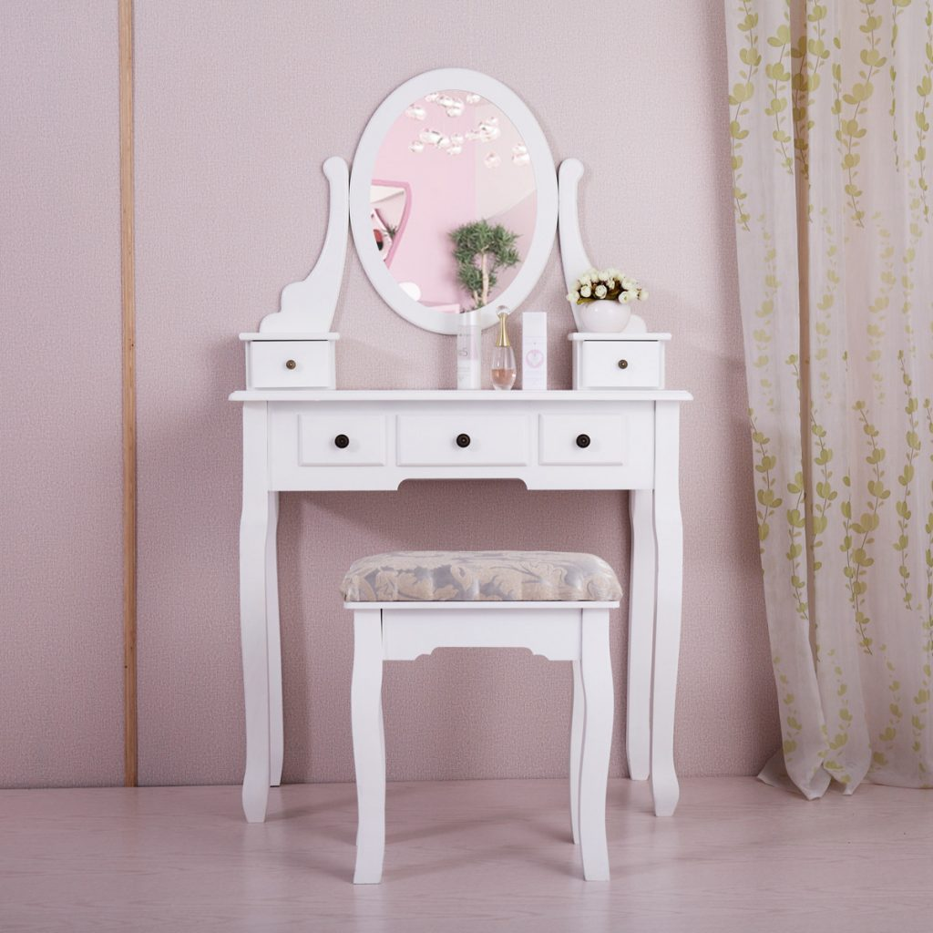 Jaxpety Wood Makeup Vanity Table Set W Oval Mirror And Stool