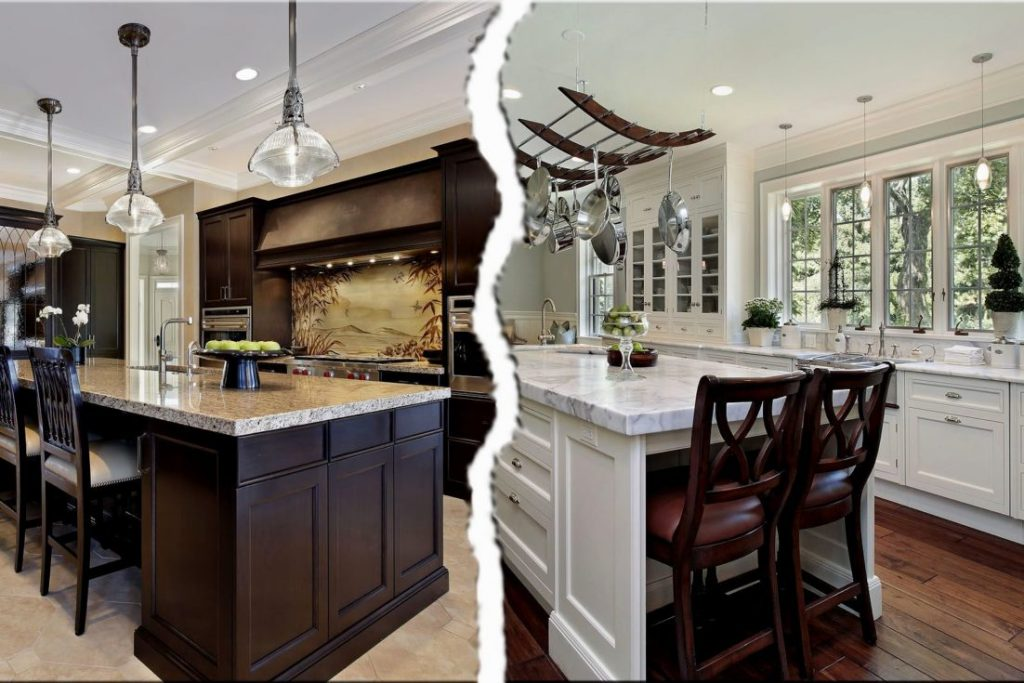 Kitchen Dark Cabis Light Countertops Walnut Stained Color Stain