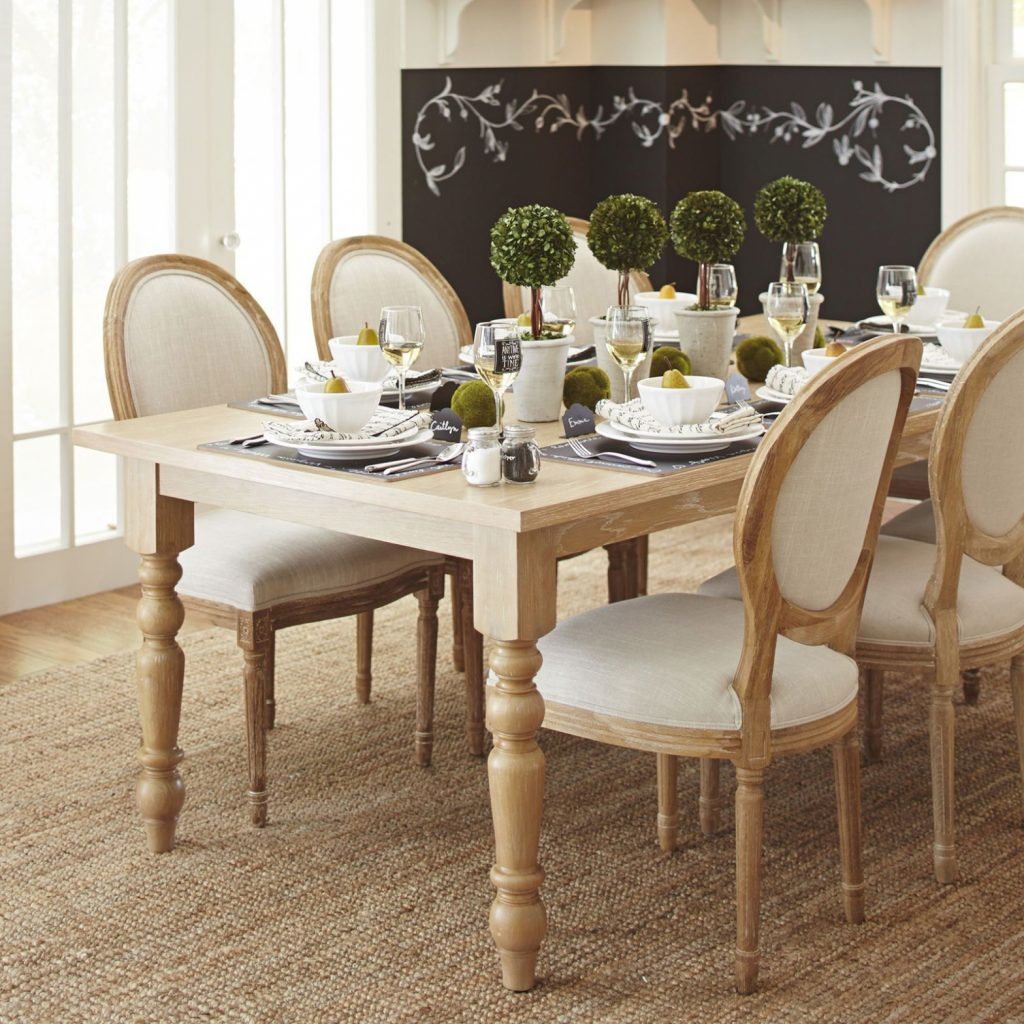 Kitchen Torrance 84 Natural Whitewash Turned Leg Dining Table