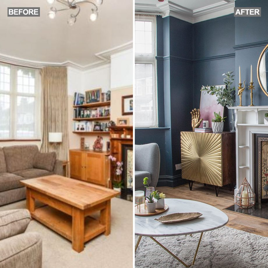 Living Room Makeover With Dark Blue Walls Pink Sofa And Gold