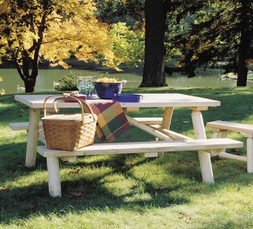Log Picnic Table Outdoor Dining Rustic Natural Cedar