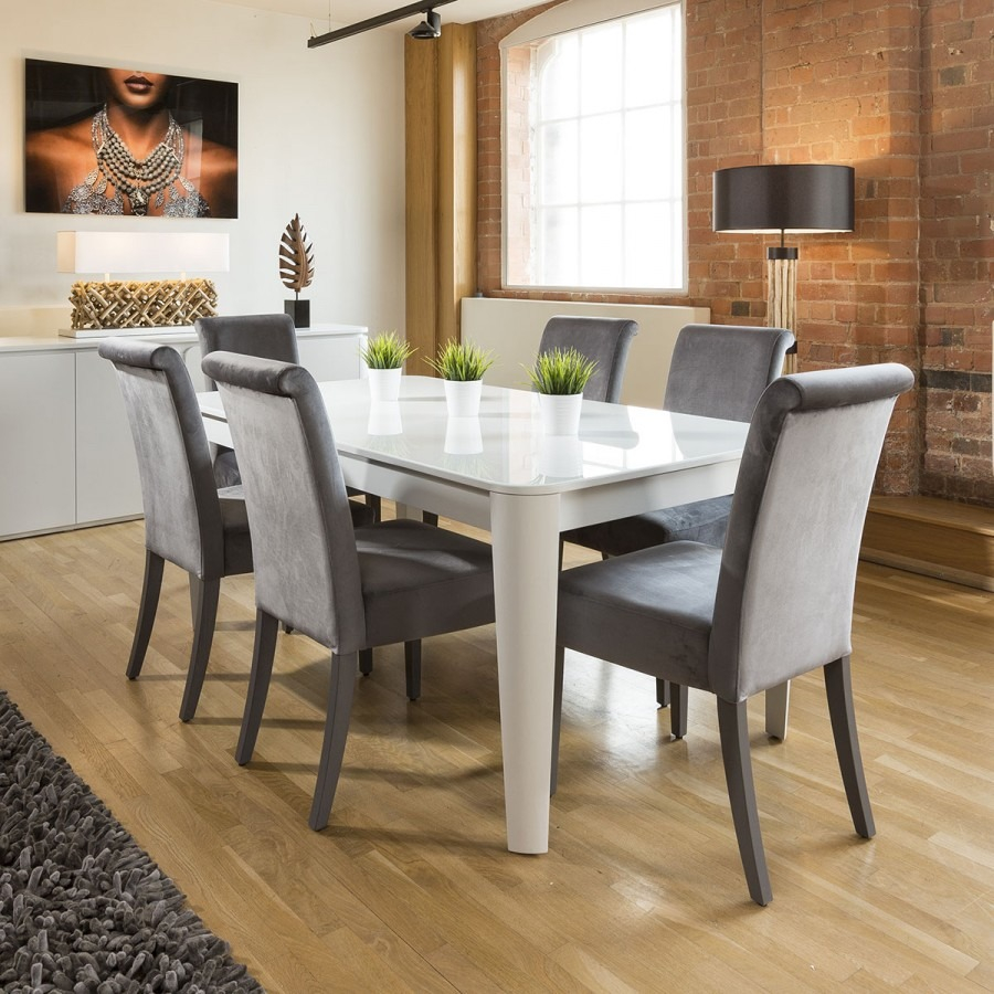 Luxury Extending Dining Set Glass Top Table 6 Grey Velvet Chairs 6