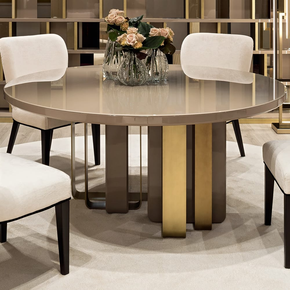 Luxury Italian Round Lacquered Designer Dining Table Juliettes