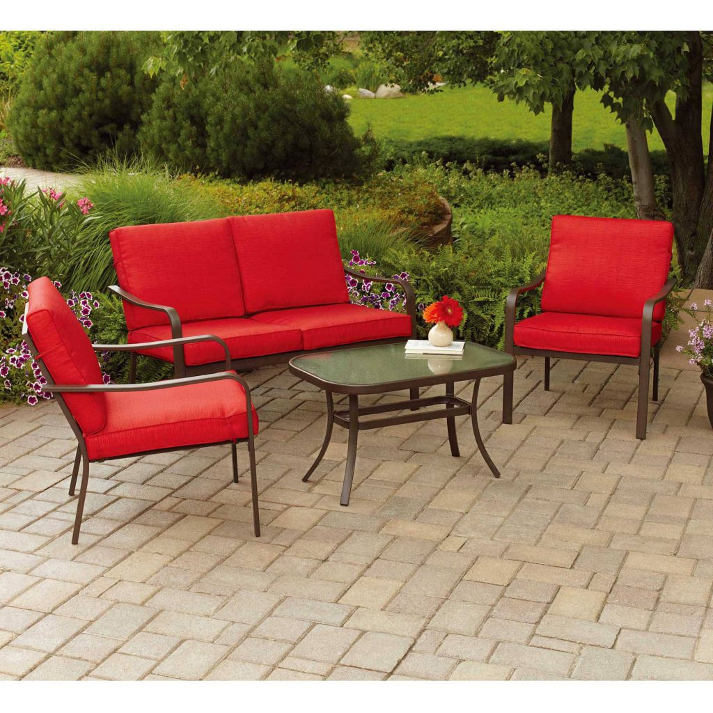 Mainstays Stanton Cushioned 4 Piece Patio Conversation Set Seats 4