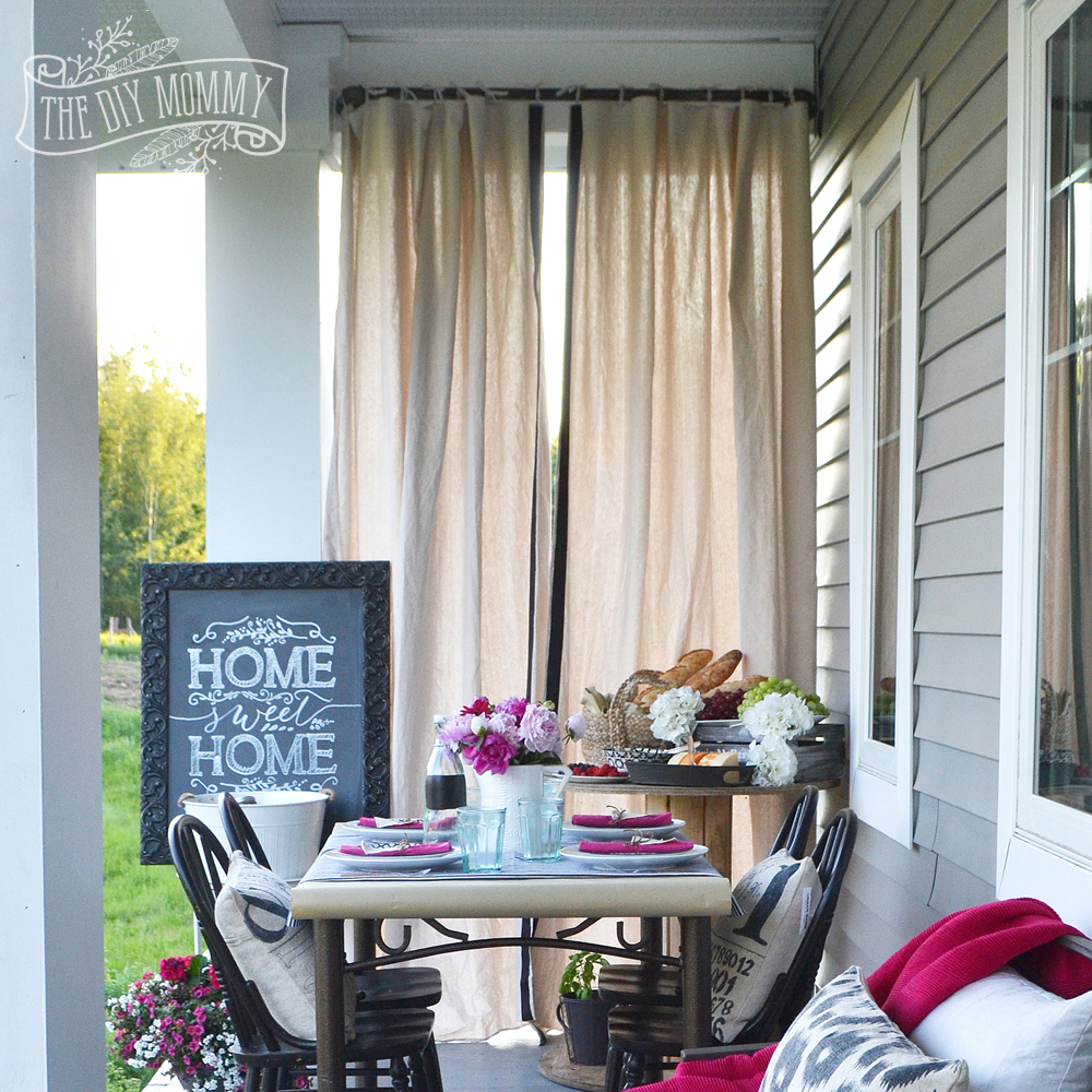 Make Outdoor Drop Cloth Drapes A Porch Warming Party Idea The