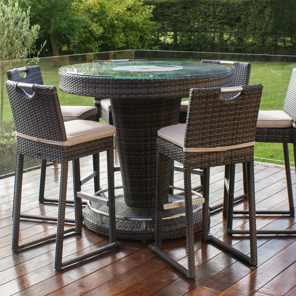 Maze Rattan Lagos Brown Garden Bar Table With Ice Bucket And 6