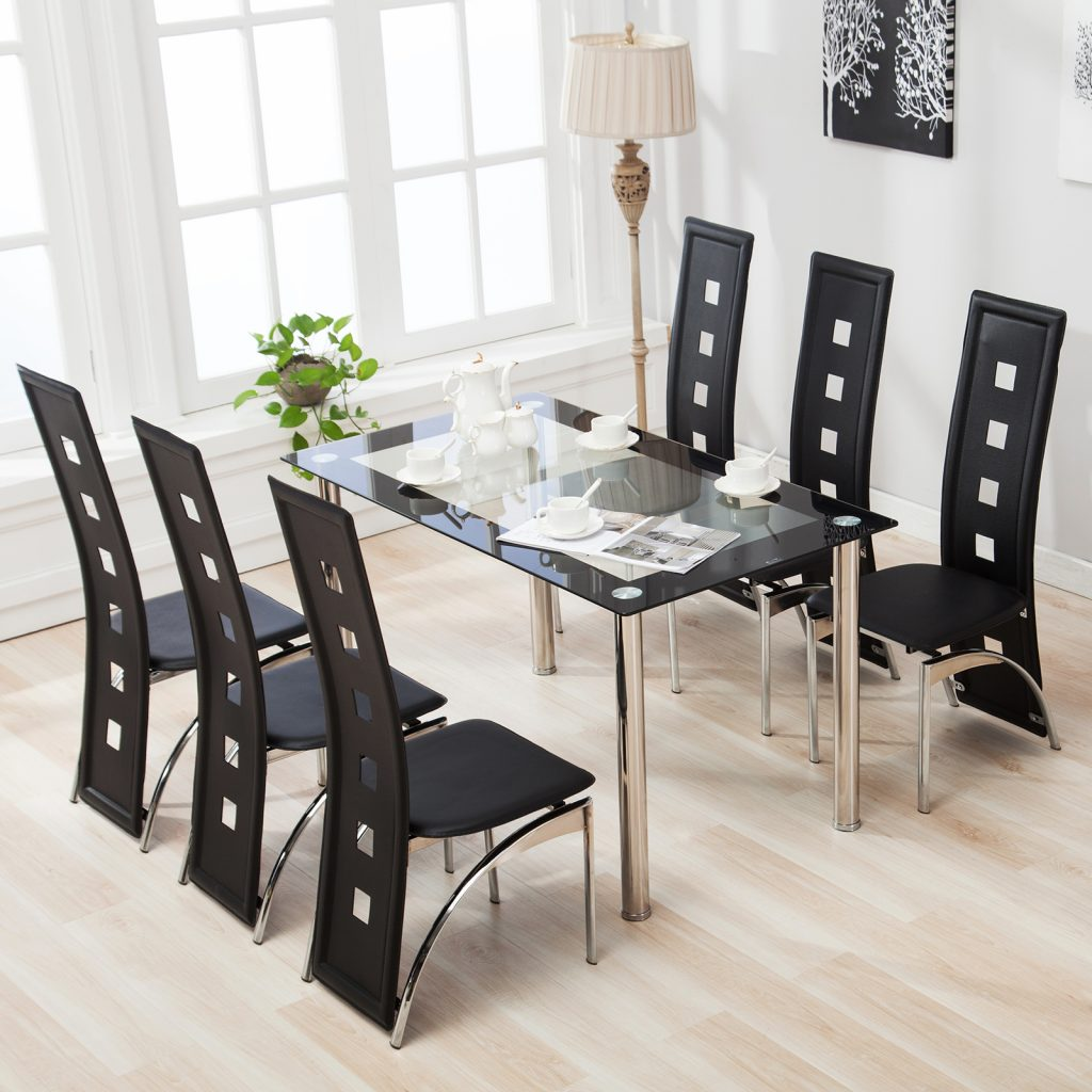 Mecor 7pcs Dining Table Set 6 Chairs Glass Metal Kitchen Room