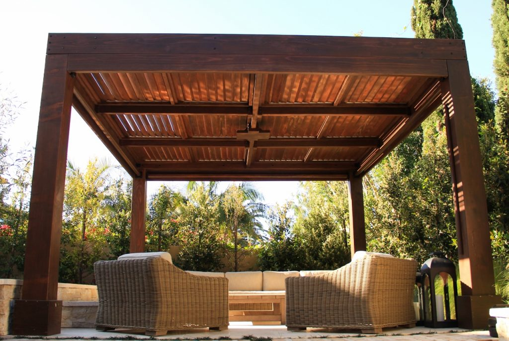Modern Louvered Garden Pergolas Custom Made From Redwood