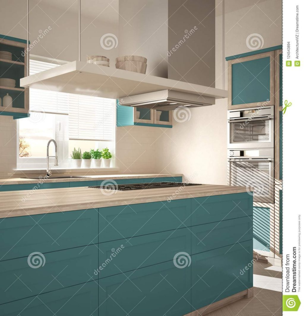 Modern Wooden And Turquoise Kitchen With Island Gas Stove And Sink