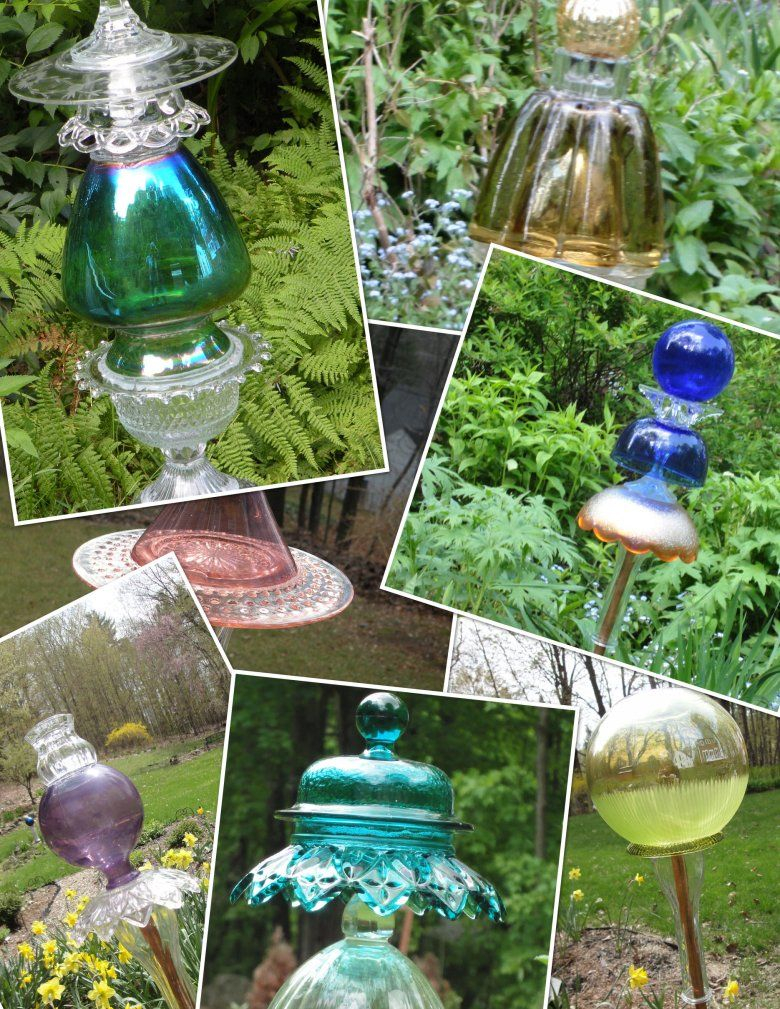 More Old Glass Garden Art Kiss My Glass