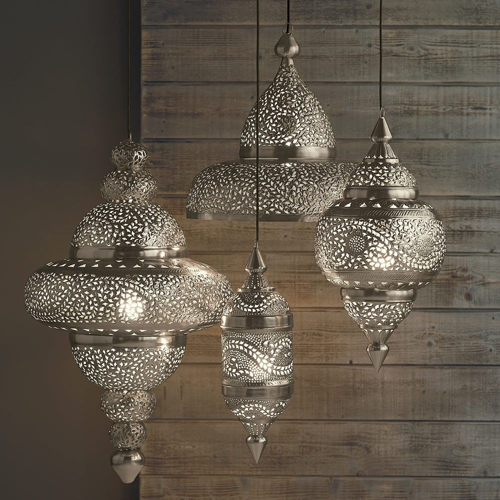 Moroccan Hanging Lamp Collection Silver Finish Vivaterra