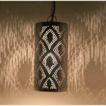 Moroccan Silver Brass Handcrafted Hanging Pendant Light Chandelier