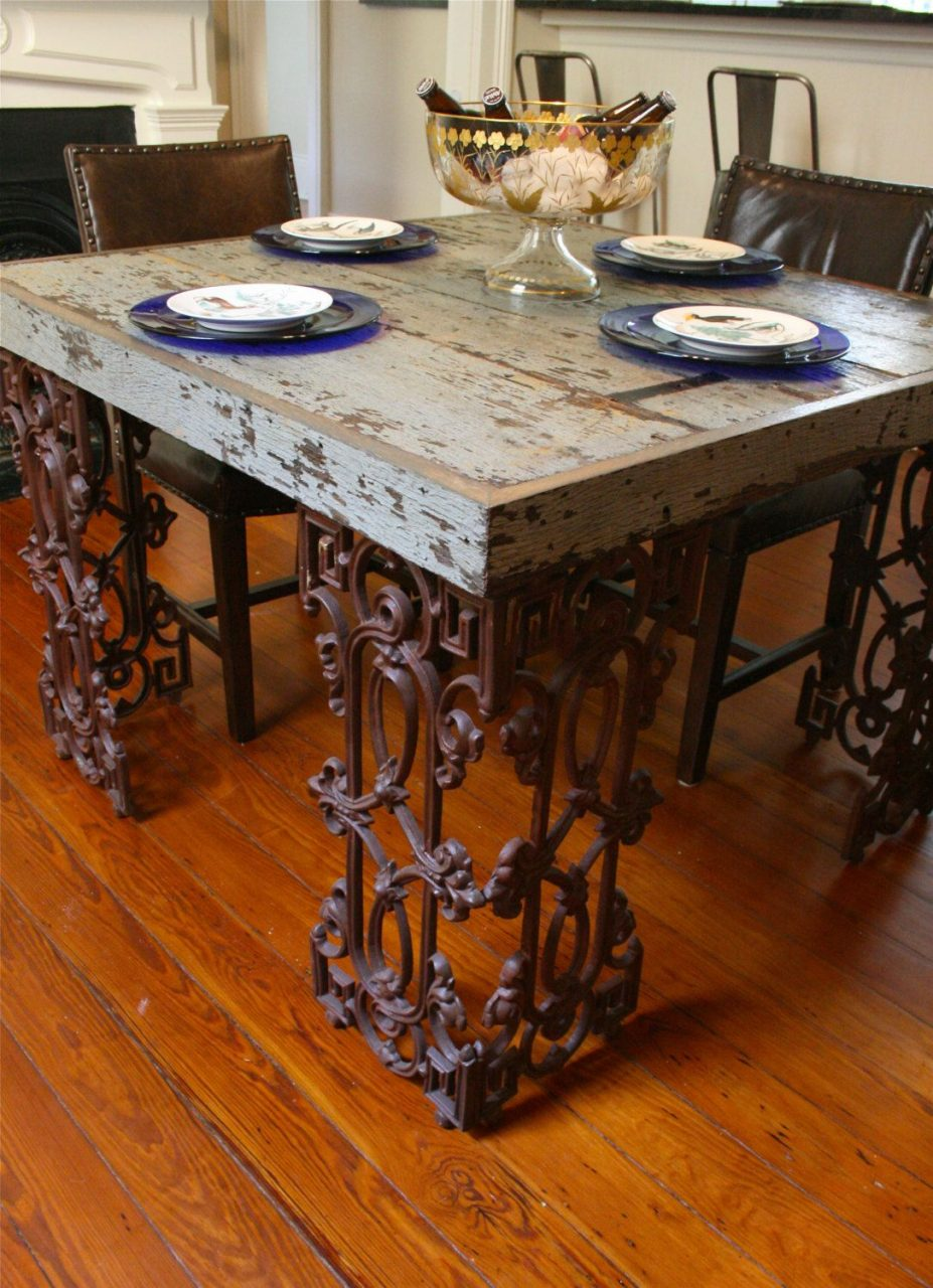 New Orleans Dining Room Table Made From Reclaimed Wood And Wrought