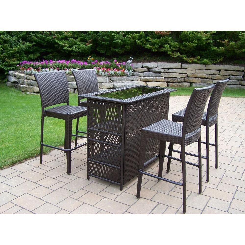 Oakland Living Elite Resin Wicker 5 Piece Patio Bar Set 90053 90054