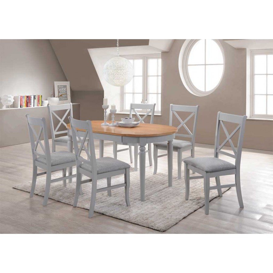 Orly Oval Dining Table 6 Dining Chairs