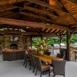 Outdoor Living Space Is Complete With Fireplace Kitchen And Flat