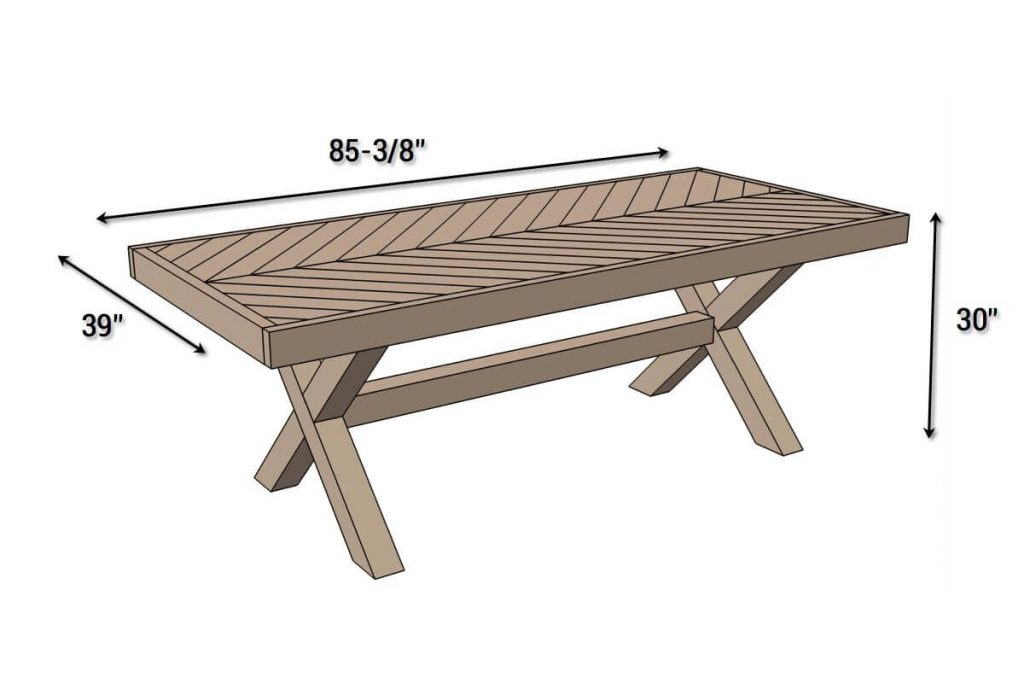 Outdoor Table With X Leg And Herringbone Top Free Plans Things