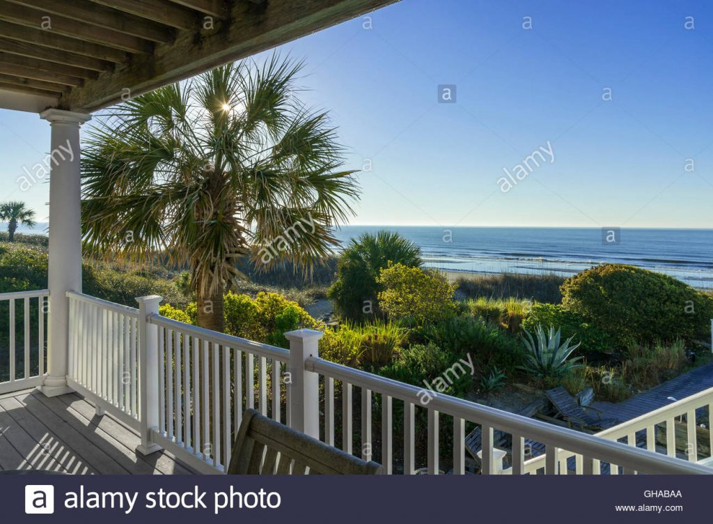 Outside Deck Patio With Sunshine Palm Tree Hilton Head Beach