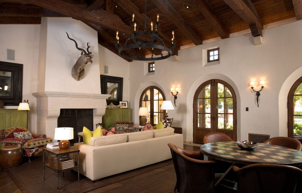 Outstanding Spanish Style Living Room Design Wooden Ceiling And Cool