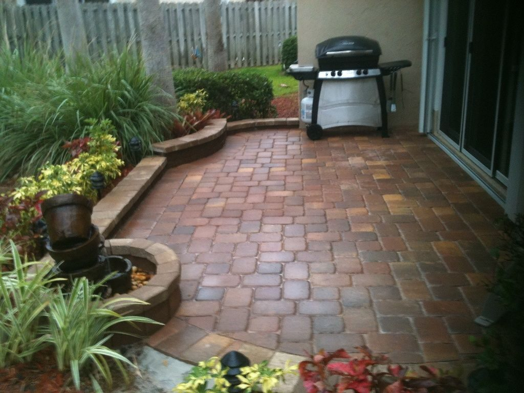 Paver Patio In A Small Space Brick Bordered Planting Areas