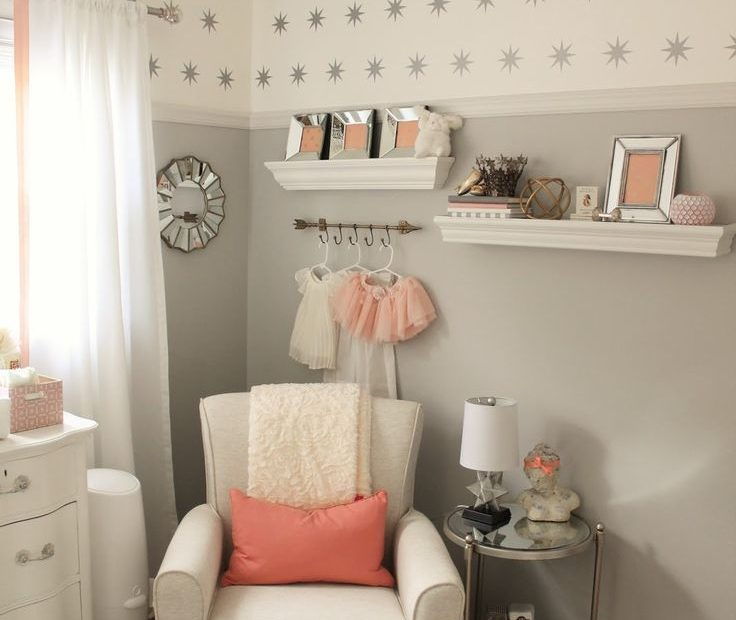 Peach And Gray Nursery Reveal Ba Girl Nursery Ideas Pinterest
