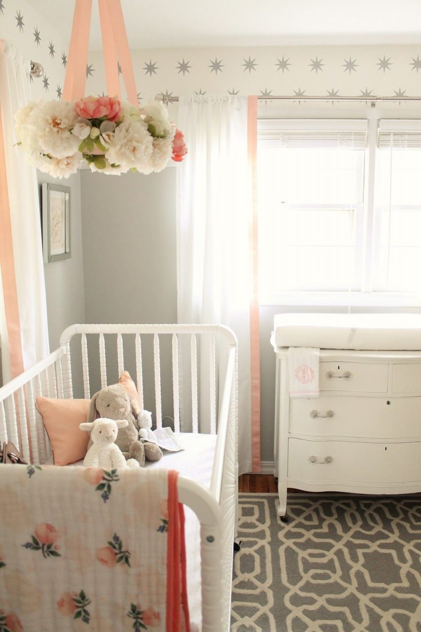 Peach And Gray Nursery Reveal My Home Blog Nursery Ba Girl
