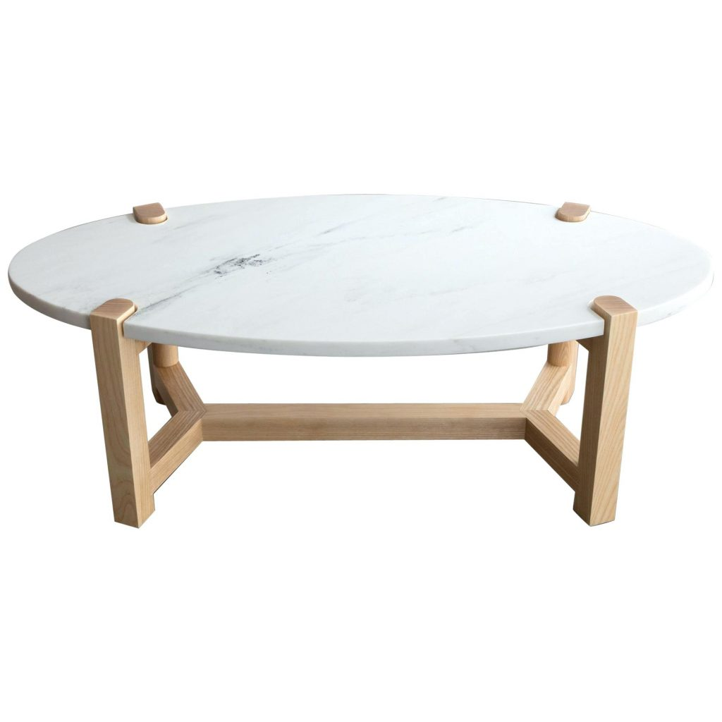 Pierce Outdoor Furniture Pierce Coffee Table White Marble Oval Ash
