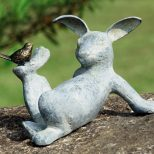 Playful Bunny Rabbit With Bird Friend Garden Sculpture Statue