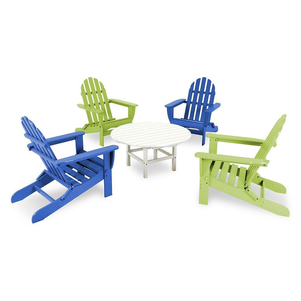Polywood 5 Pc Classic Neon Folding Adirondack Chair Table Set