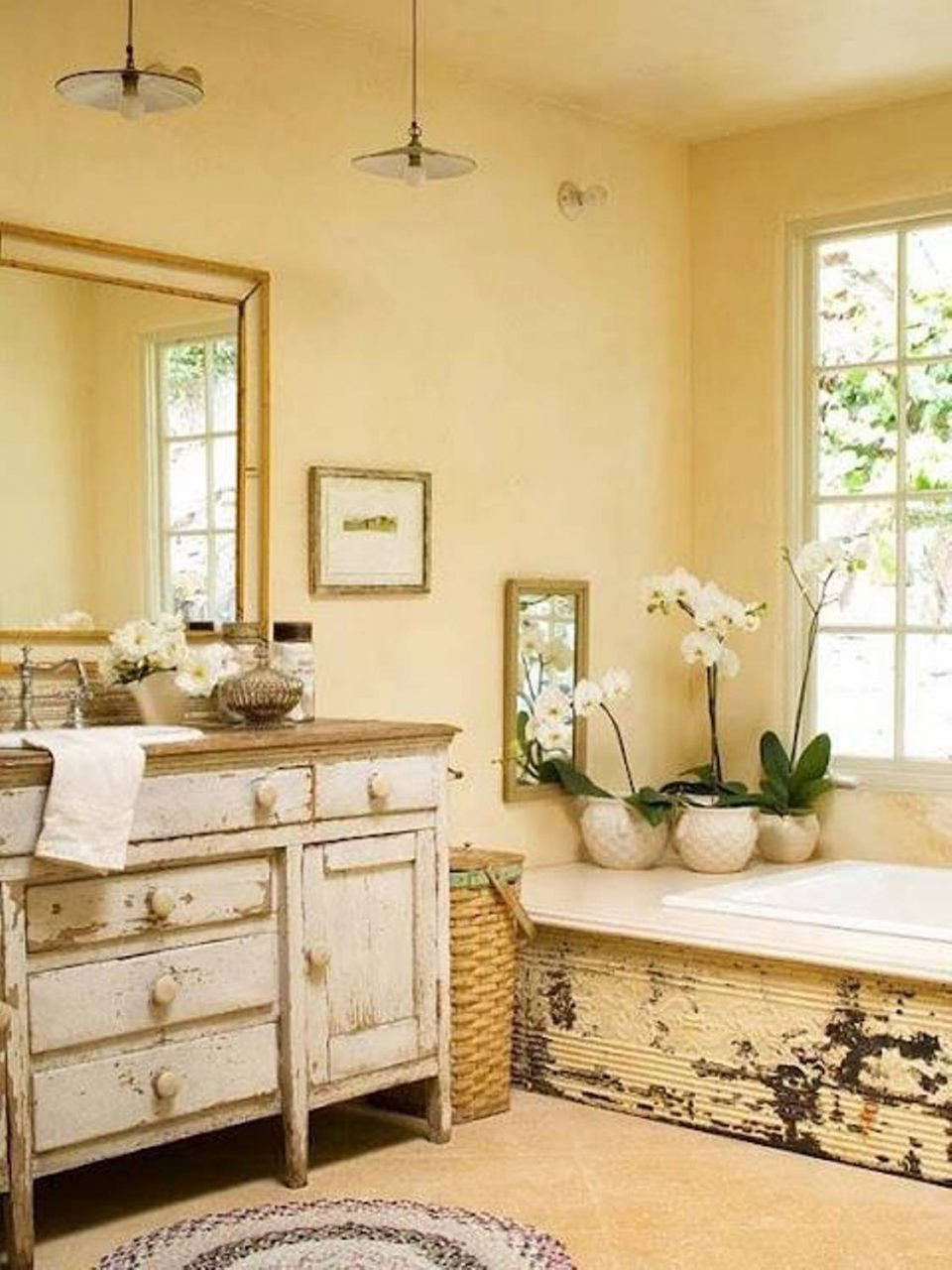 Pretty Pale Yellow Country Style Bathroom Pastel Light Canary