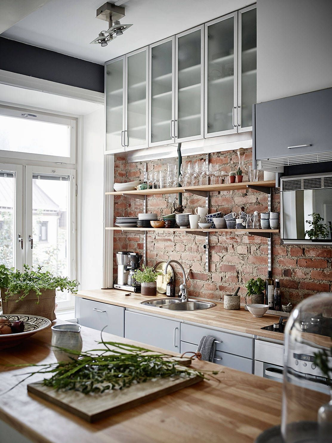 Image of: Red Brick Kitchen Backsplash Ideas Scandinavian Kitchen Design Layjao