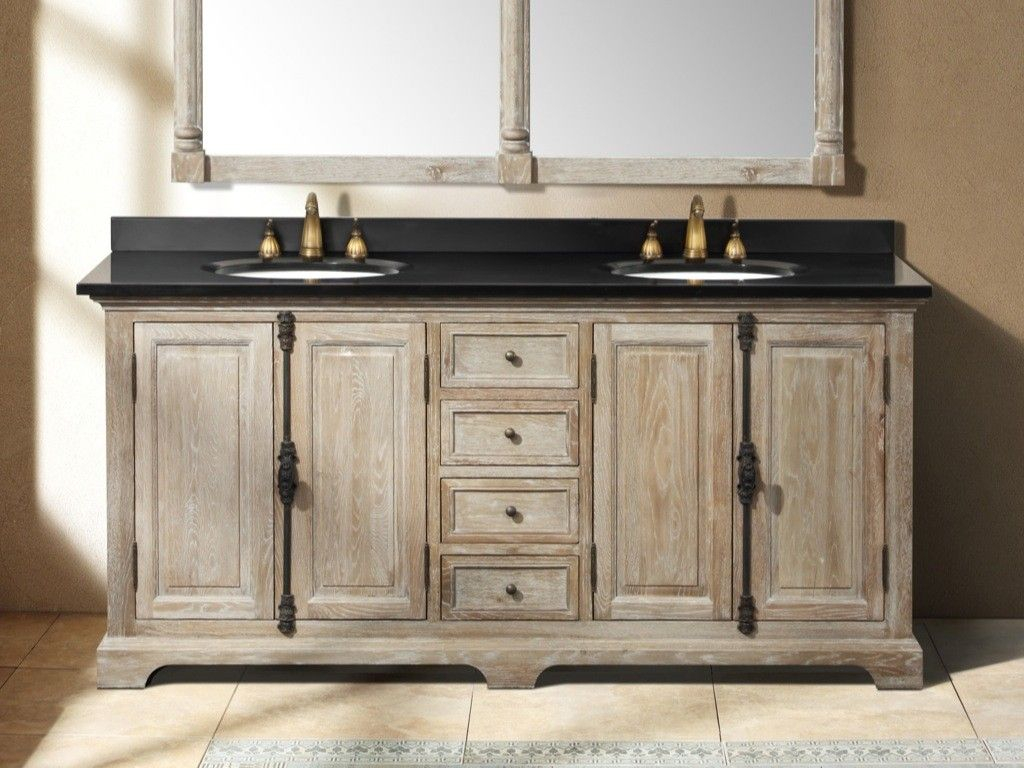 Rustic Bathrooms Farmhouse Vanity 72 Inch Driftwood Grey Double Layjao