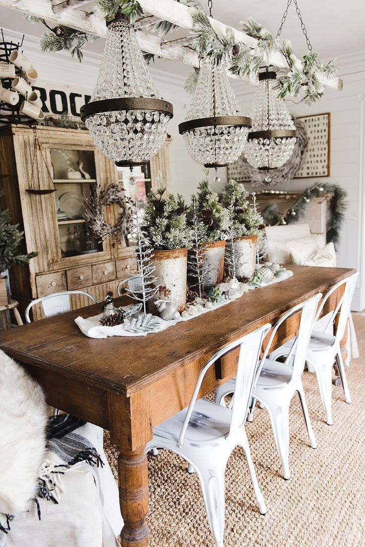 Rustic Glam Farmhouse Christmas Dining Room Country Decor