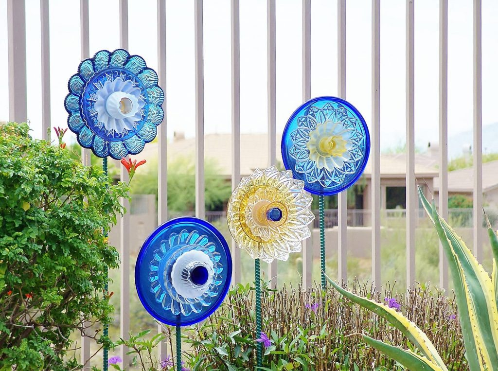 Sale Garden Art Upcycled Recycled Glass Plate Flower Flower