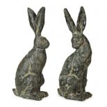 Set Of 2 Springtime Garden Weathered Chiseled Easter Bunny Rabbit